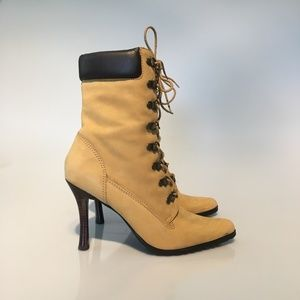 TWO LIPS TAN SEXY CONSTRUCTION LACE UP BOOTS SZ 9